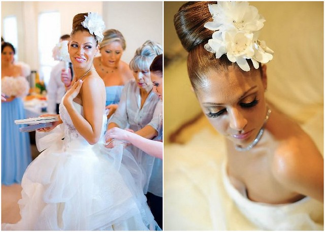 bridal top knot, bridal top bun, bridal hair flowers, bridal flower fascinator, Vera Wang