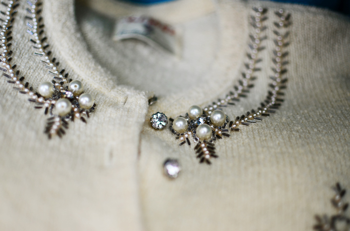 vintage cardigan pearl sparkles g