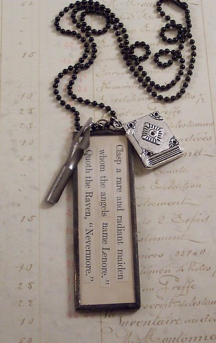 "Poe ""The Raven"" Quote Charm Necklace"