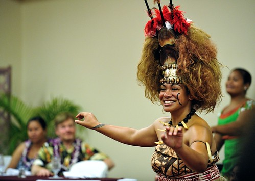 Miss American Samoa performs the taualuga.