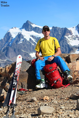 The (Other) Captain Serious.... Mt Shucksan over the right shoulder.  Skier Andy Traslin.... photo Mike Traslin