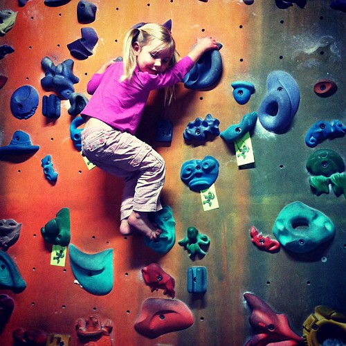 Leah's new favorite pastime.  Went to the climbing gym today at her request. #iamecstatic