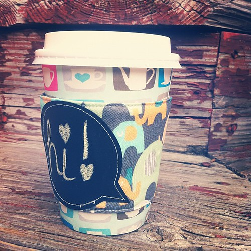 Elephant reusable coffee sleeve. $8.00, includes shipping. Only one. {chalkboard fabric speech bubble!} Leave your PayPal addy and she's yours!