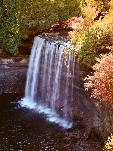 waterfall fallcolor georgianbay greatlakes lakehuron nikonf5 tiffendfx nikkor3570f28afd vacation2012easternlakes