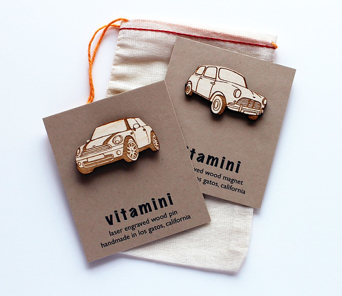 Mini Cooper pins and magnets