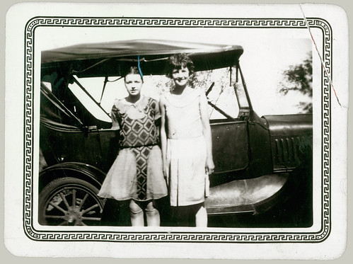 Two girls and car
