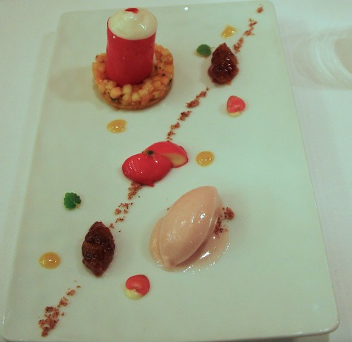 Comme Chez Soi - Minced exotic fruit, fresh almonds, peaches and nectarines sorbet