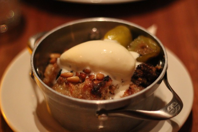 Fig bread pudding with pine nuts and goat cheese ice cream