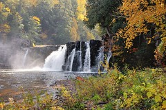 Manabezho Falls  Presque Isle river,  Porcupine Mountains State Park by Michigan Nut