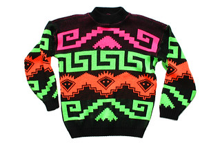 Bright Day-Glo Vintage 80s Tacky Ugly Cosby Sweater