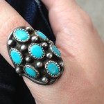 silver and turquoise ring from yard sale in Dix Hills