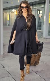 Kim Kardashian Cape Coat Celebrity Style Women's Fashion