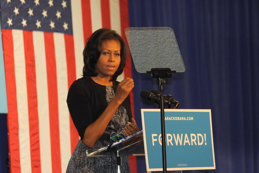 Michelle Obama speaking in Iowa City  - Download Photo
