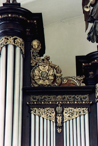 Sarre-Union, Alsace, Église Saint-Georges, organ, detail