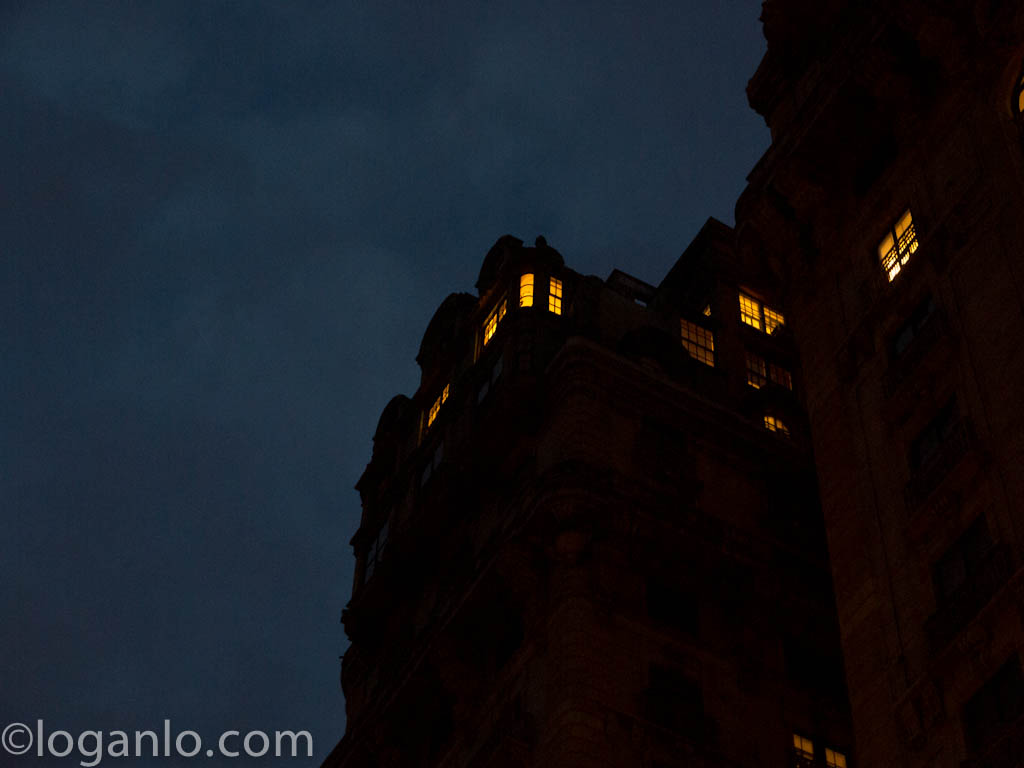 The Ansonia aka 666 Park Avenue against a cloudy night sky
