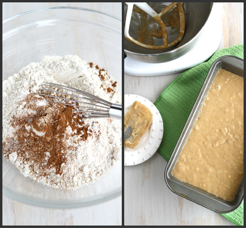 Pour the batter into the prepared loaf pan and spread evenly with a ...
