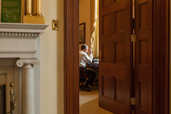 Speaker John Boehner talk on the phone in his office at the U.S. Capitol. January 25, 2012.