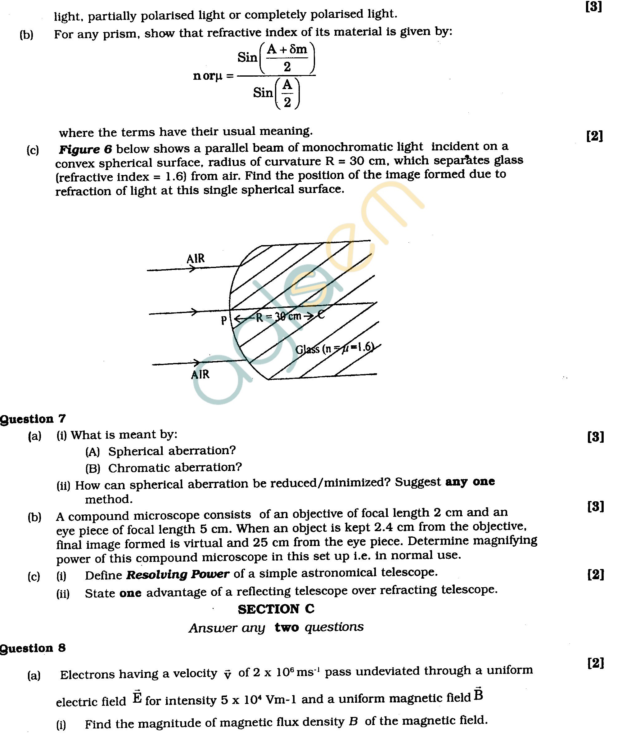 ISC Class XII Exam Question Papers 2012: Physics