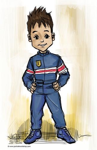 Porsche boy mascot sketch - round 4