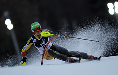 Erin Mielzynski races in the World Cup night slalom in Zagreb, Croatia.