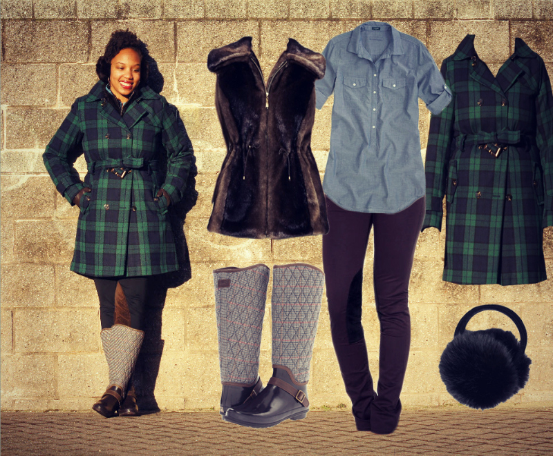 Tommy Hilfiger Plaid Wool Trench, Belle Fare Fur Vest, Uniqlo Chambray Tunic, Sperry Hingham Boots, Rugby Suede Patch Leggings, Fur Earmuffs