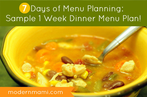 Menu Planning: Sample Dinner Menu Plan