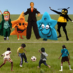 Bush and friends cheer at the children playing soccer match on the lawn of a park
