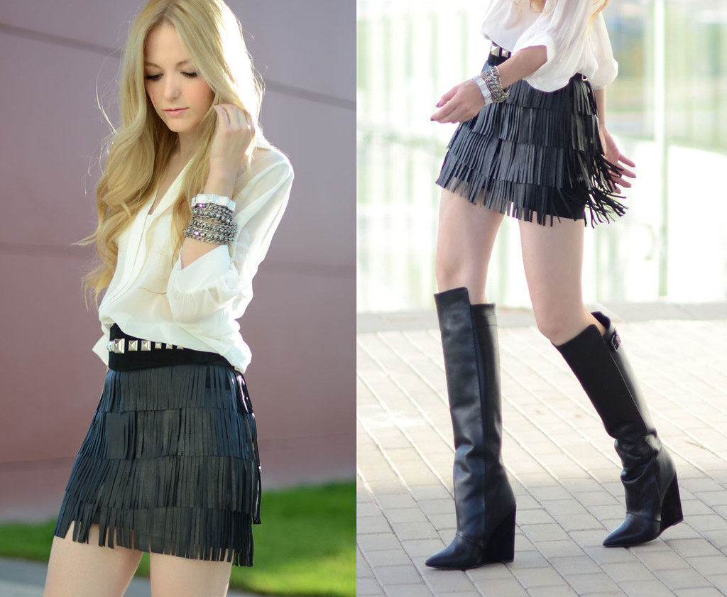 OhMyVogue fashion blog fringed leather skirt column boots outfit