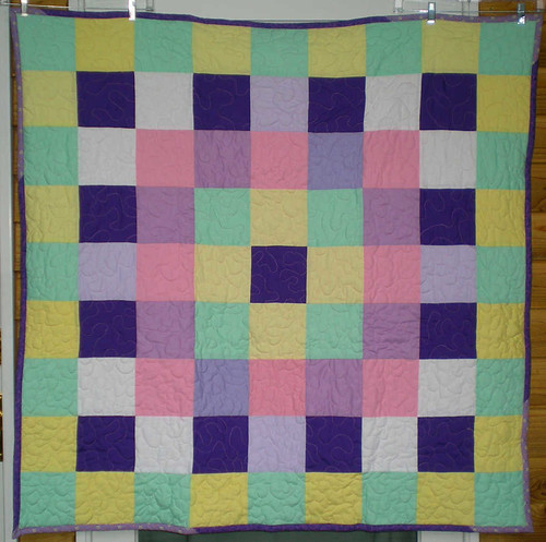48sq sams quilt with mint fleece back