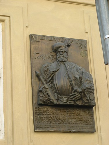 Memorial plaque of the Romanian Ruler Mihai Viteazu on the Morzin Palace in Prague, Czech Republic