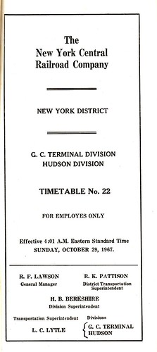 New York Central 1967 Schedule Cover
