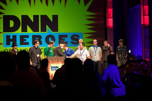 Accepting DNN MVP awards; photo by Oliver Hine