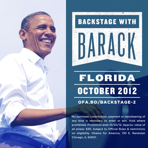 Win a chance to see Barack Obama in our Backstage with Barack Contest