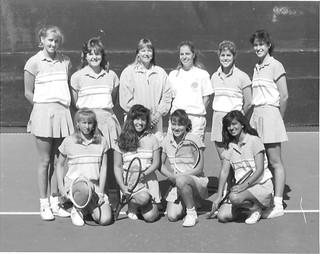Women's tennis team in 1987. Photo courtesy of Mercedes Fitchett '91
