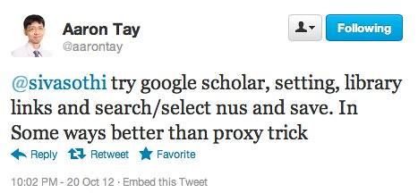 Twitter / aarontay: @sivasothi try google scholar, ...