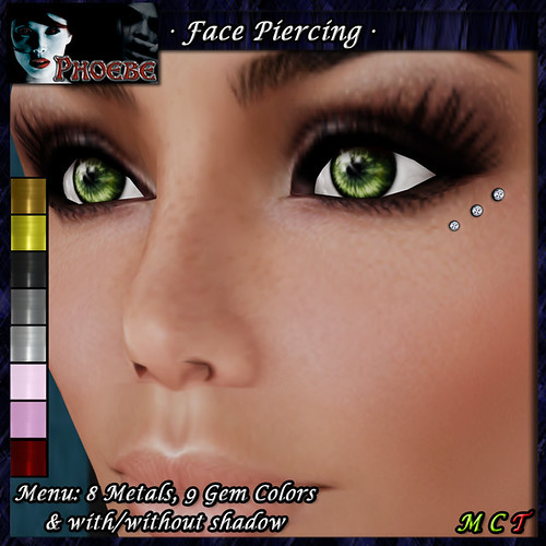 [GROUP GIFT] *P* Face Piercing ~ Eye Diamonds ~9 Metals-8 Gem Colors~