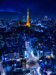 [Free Images] Architecture, City / Town, Towers, Night View, Tokyo Tower, Landscape - Japan, Japan - Tokyo ID:201211032000