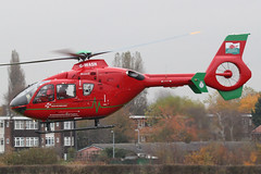 G-WASN - 2008 build Eurocopter EC135 T2+, departing Barton after a fuel-stop during a patient transfer mission