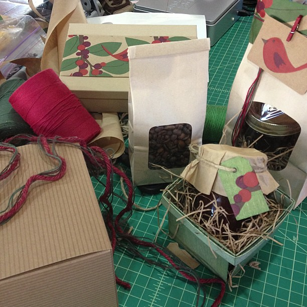 Major craft party going on, decorating packages for photo shoot #holiday #Christmas #giftwrap