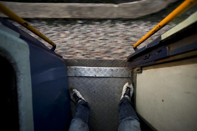 Train edge standing
