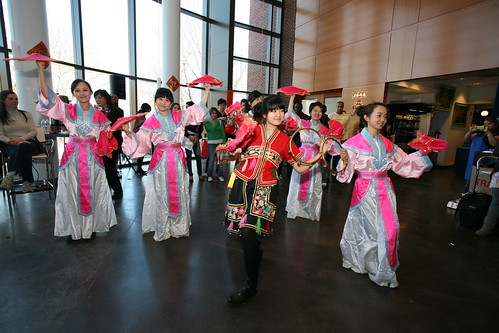 Image from Lunary New Year Celebration of students dancing to traditional music