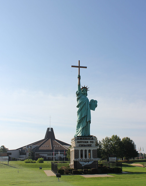 Statue of Liberty Holding Cross at World Overcomers Outreach Ministries Church, Memphis