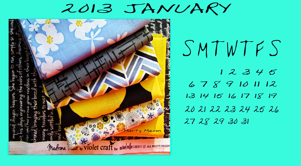January 2013 Quilters Calendar