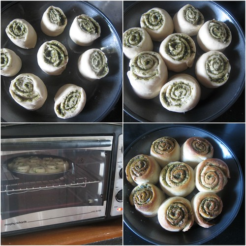 Eggless Pesto Rolls with Homemade Pesto