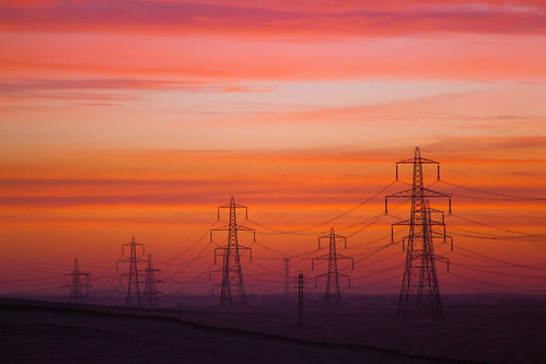 colour train sunrise landscape scotland power electricity pylons larbert