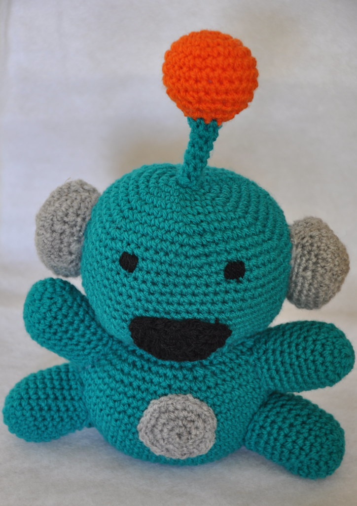 sparkie the robot crocheted toy