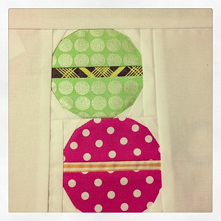 Start of Charise's Ringo Pie block. Her theme is Paris. Macarons using Sew Ichigo's button pattern