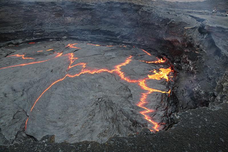 Looking down into a volcanoe, Erta Ale in the Danakil desert