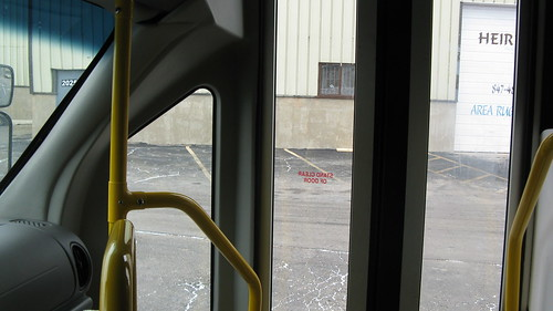The driver's perspective of the front entrance doors aboard a Ford paratransit mini bus. by Eddie from Chicago