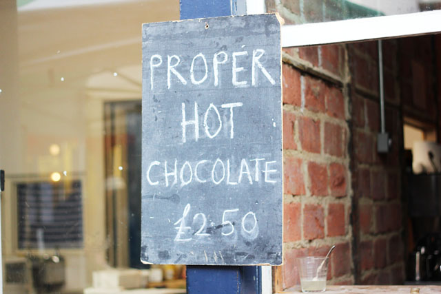 Proper Hot Chocolate sign on Columbia Road